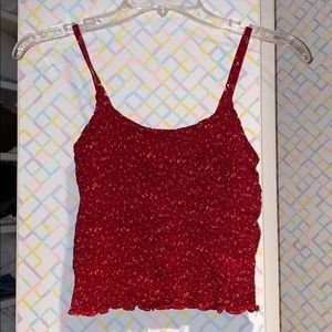 ✨ Cinched Floral Red Tank 💕
